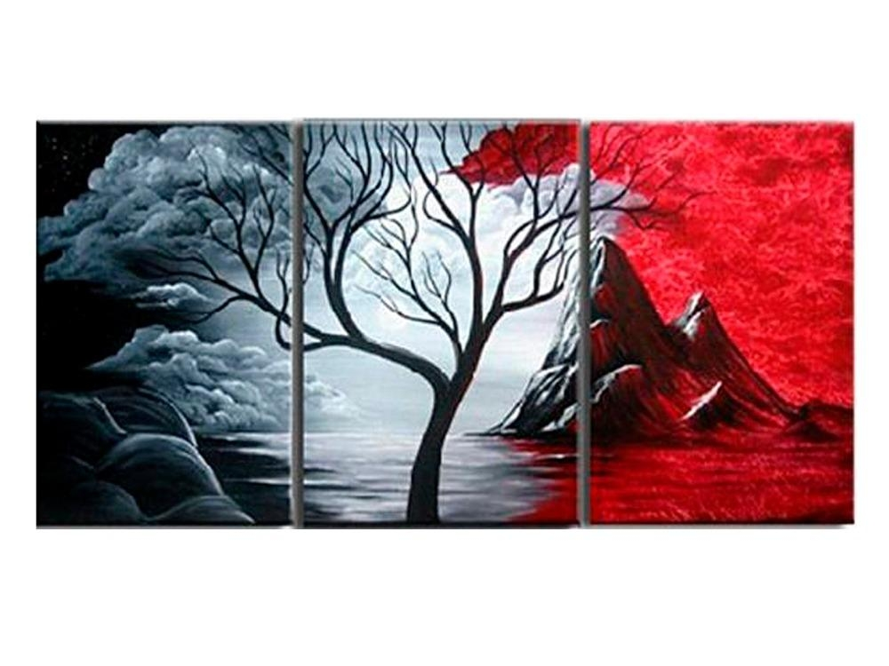 Modern Abstract Painting Wall Decor Landscape Canvas Wall Art 3 Within Landscape Canvas Wall Art (Image 16 of 20)