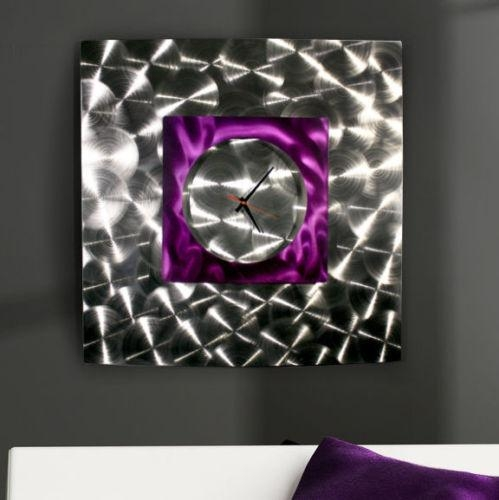"Modern Abstract Purple Silver Metal Wall Art Clock Sculpture ""wind In Abstract Metal Wall Art With Clock (Image 18 of 20)"
