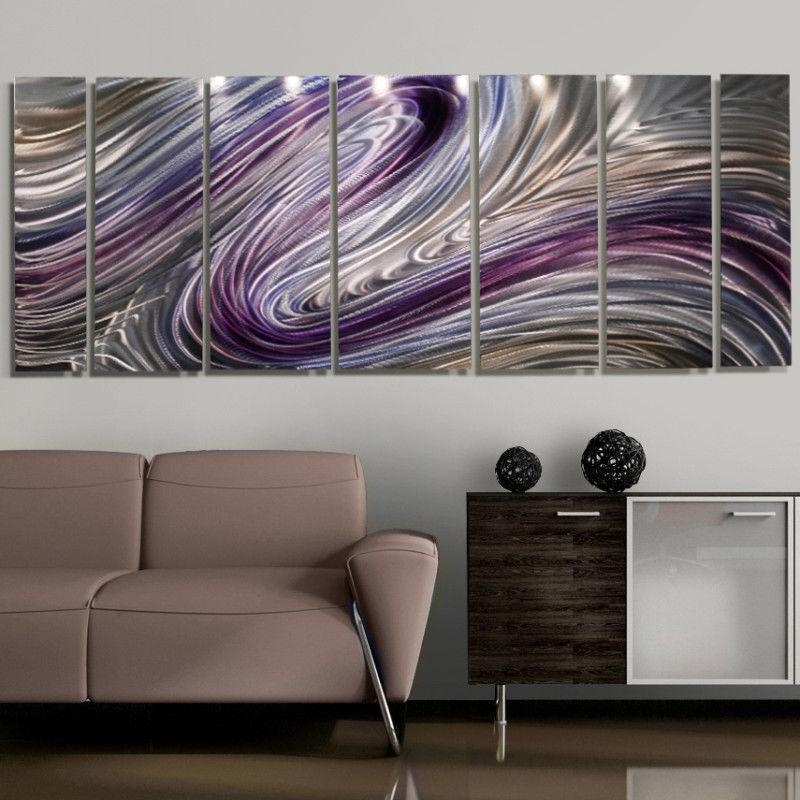 "Modern Abstract Purple/silver Painting Metal Wall Art Decor ""wild For Abstract Metal Wall Art Painting (View 19 of 20)"