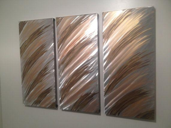 Modern Abstract Silver/gold/copper Metal Wall Art Panel Set In Abstract Metal Wall Art Panels (View 3 of 20)