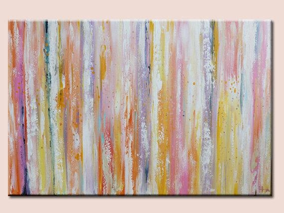 Modern Abstract Wall Deco Artwork Green Pink Orangepastel Shades Inside Pastel Abstract Wall Art (View 1 of 20)
