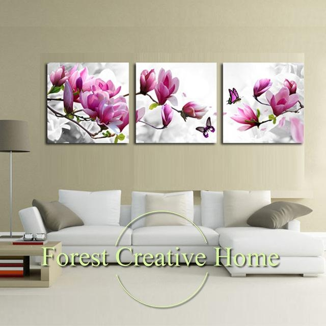 Modern Art Flower Canvas Painting Three Picture Combination With Regard To Canvas Wall Art Of Flowers (View 4 of 20)