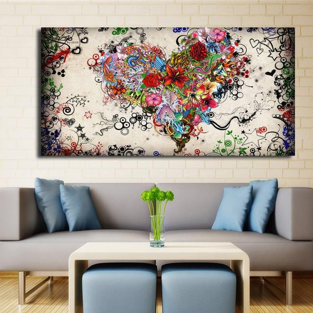 Modern Big Canvas Wall Art Canvas Painting Watercolor Heart Intended For Modern Abstract Wall Art (View 12 of 20)