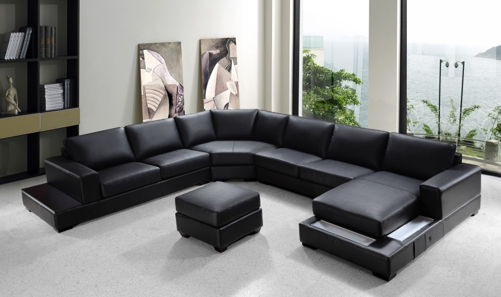 "Modern Black Leather ""u"" Shaped Sectional Throughout U Shaped Leather Sectional Sofas (View 2 of 10)"