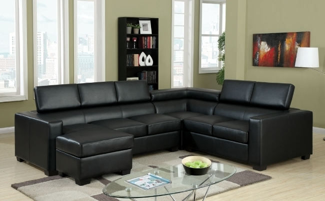 Modern Black Sectional Sofa With Adjustable Headrests | Leather Intended For Black Sectional Sofas (Image 6 of 10)