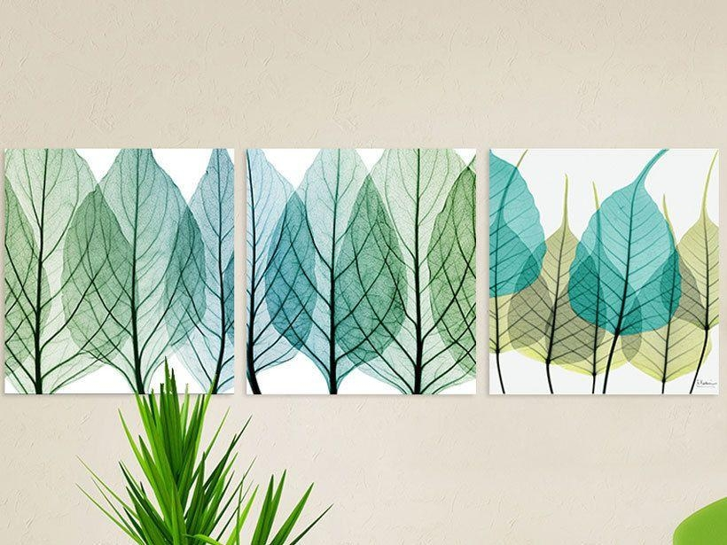 Modern Blue Leaves Set Of 3 Canvas Painting Large 50X50 Each In Leaves Canvas Wall Art (Image 9 of 20)