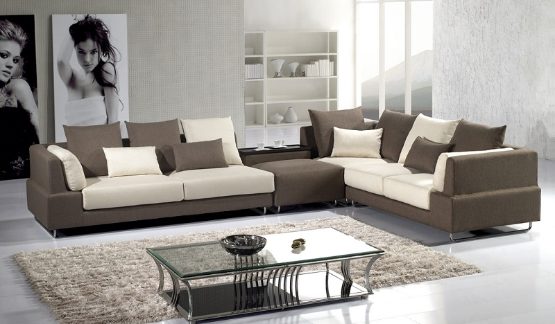 Modern Brown Microfiber Sectional Sofa – Shop For Affordable Home Inside Modern Microfiber Sectional Sofas (Image 9 of 10)