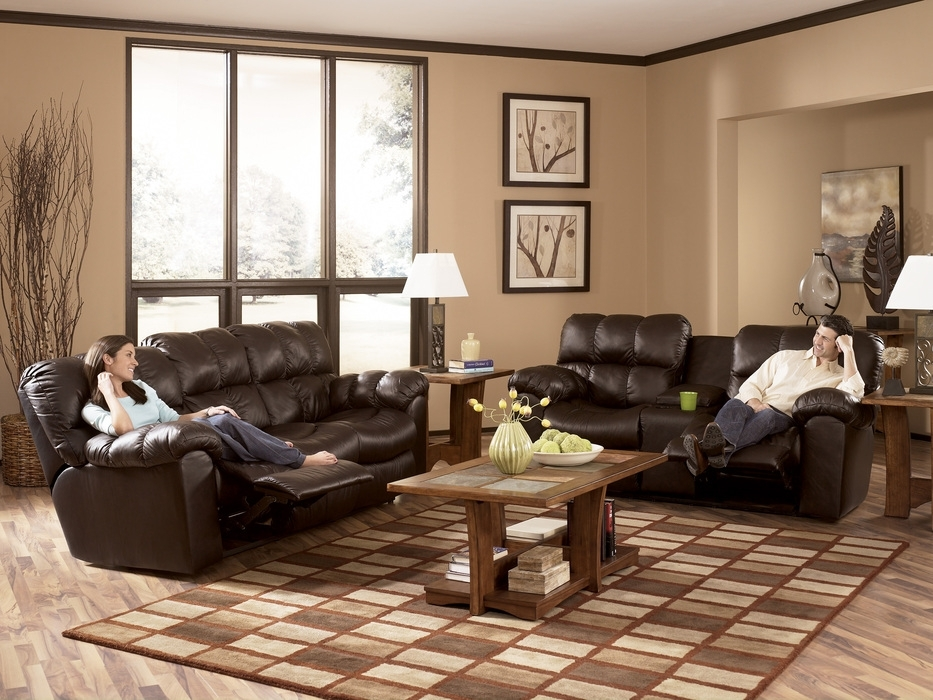 Modern Burgundy Leather Reclining Sofa Loveseat Set With Sofas And For Sofas And Loveseats (Image 3 of 10)