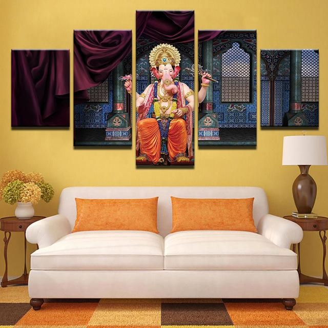 Modern Canvas Abstract Painting Hd Printed Pictures Wall Art 5 Pertaining To India Abstract Wall Art (Image 11 of 20)