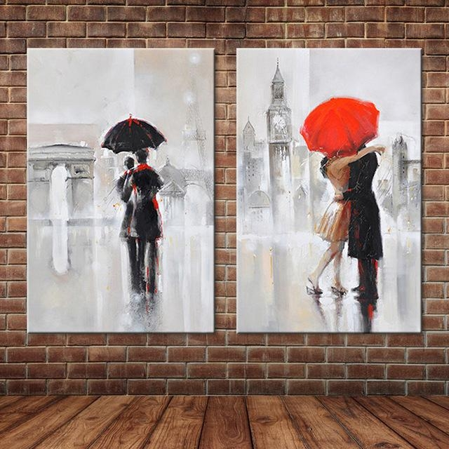 Modern Canvas Art Romantic Lovers In Pairs In Rainy Day Oil Regarding Canvas Wall Art Pairs (View 17 of 20)