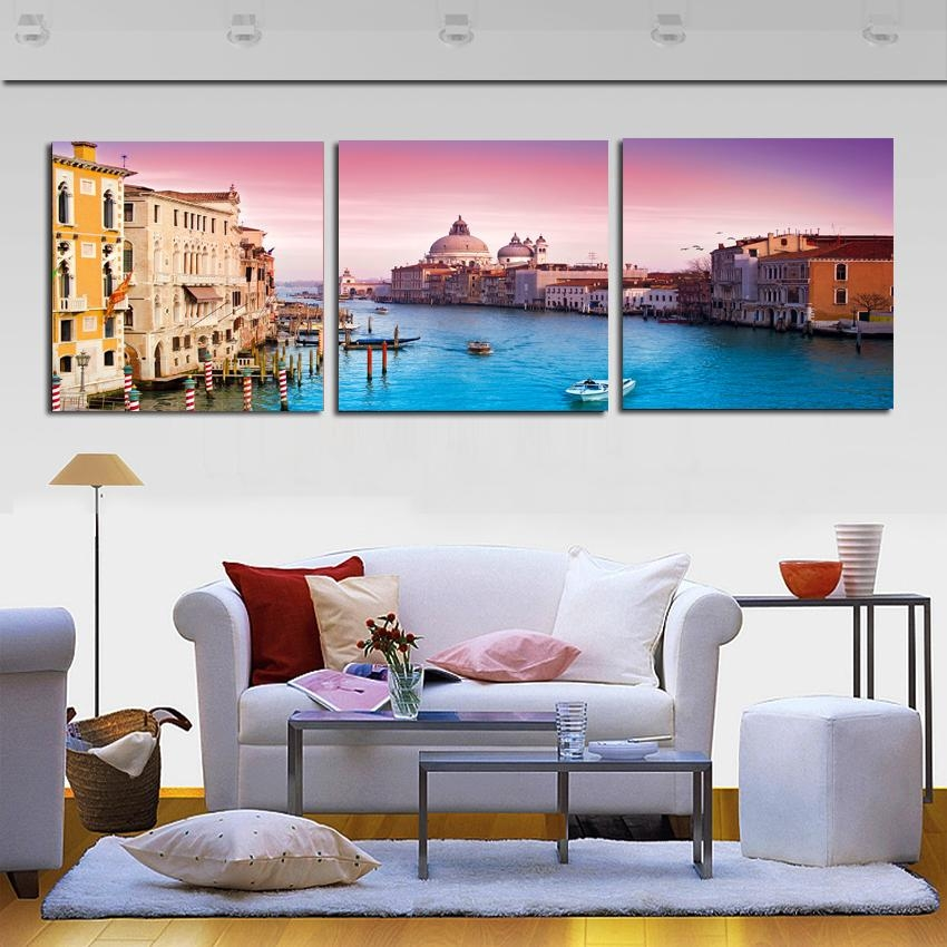 Modern Canvas Painting 3 Pieces Wall Art Italy Venice Landscape In Canvas Wall Art Of Italy (Image 14 of 20)