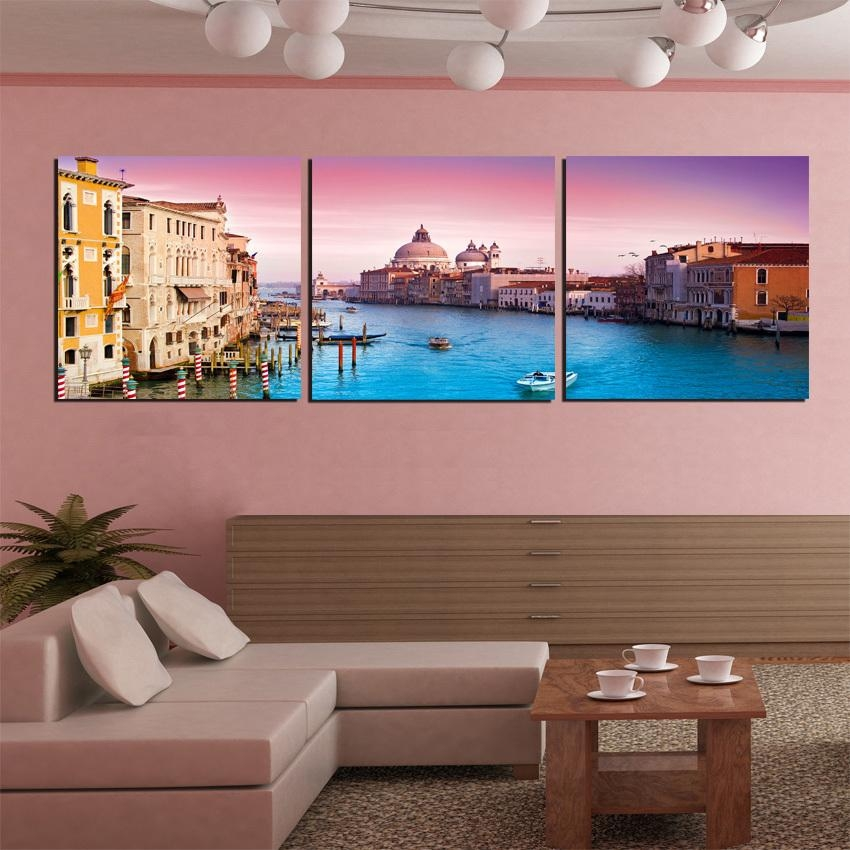 Modern Canvas Painting 3 Pieces Wall Art Italy Venice Landscape With Italy Canvas Wall Art (Image 15 of 20)