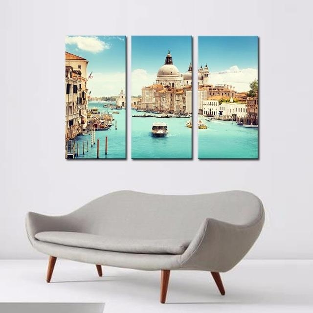 Modern Canvas Painting 3 Pieces Wall Art Italy Venice Landscape With Regard To Canvas Wall Art Of Italy (Image 15 of 20)