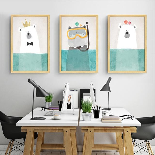 Modern Canvas Painting Art Nordic Kawaii Animals Bear Hippo Poster Intended For Modern Nursery Canvas Wall Art (View 16 of 20)