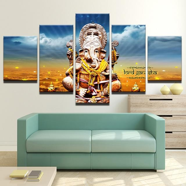 Modern Canvas Painting Hd Printed Wall Art 5 Pieces Elephant Trunk Inside India Canvas Wall Art (Image 10 of 20)
