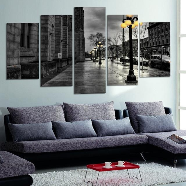 Modern Canvas Pictures Retro Ink Paintings City Street Landscape Intended For Retro Canvas Wall Art (Image 13 of 20)
