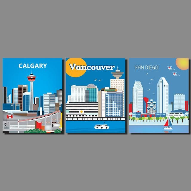 Modern City Landscape Decoration Wall Art Picture San Diego With Calgary Canvas Wall Art (View 9 of 20)