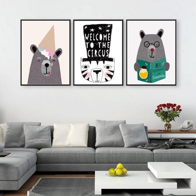 Modern Creative Kawaii Animals Bear Canvas Poster Print Cartoon Inside Modern Nursery Canvas Wall Art (View 19 of 20)