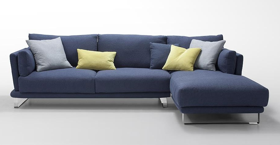 Modern Dark Blue Fabric Sectional Sofa – Lucas | Fabric Sectional Sofas With Regard To Blue Sectional Sofas (Image 6 of 10)