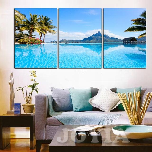 Modern Decor Wall Pictures Blue Sea Tropical Seascape Paintings Regarding Hawaii Canvas Wall Art (Image 14 of 20)