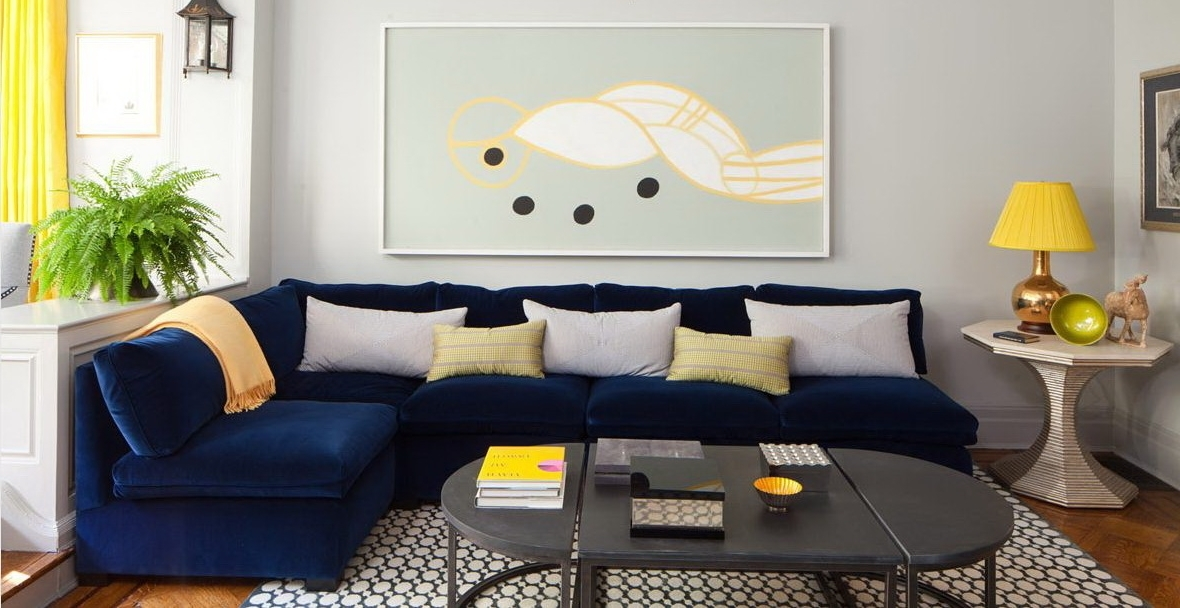 Modern Furniture Minimalist Living Room Design With Dark Blue Pertaining To Dark Blue Sofas (Image 9 of 10)