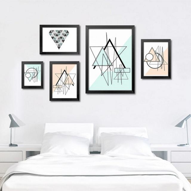 Modern Geometric Nordic Triangles Abstract Oil Painting Canvas Art Intended For Abstract Wall Art Posters (View 10 of 20)