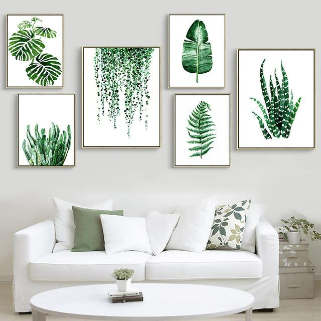 Modern Green Tropical Plant Leaves Canvas Art Print Poster With Leaves Canvas Wall Art (View 1 of 20)