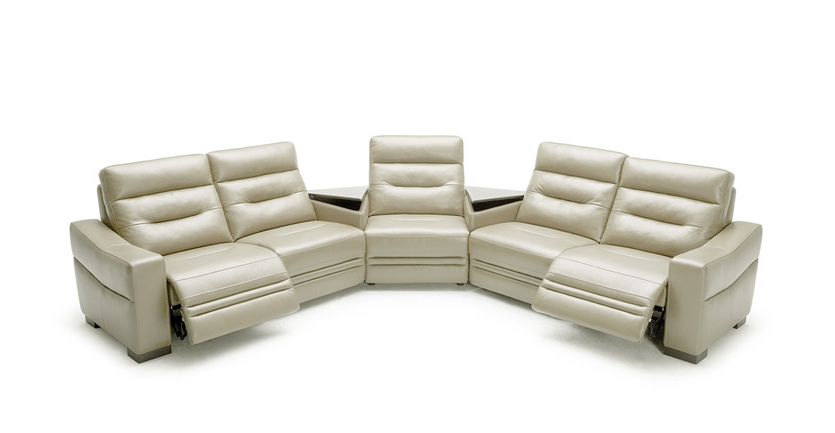 Modern Grey Leather Sectional Sofa With Recliners And Consoles Throughout Sectional Sofas With Consoles (Image 6 of 10)