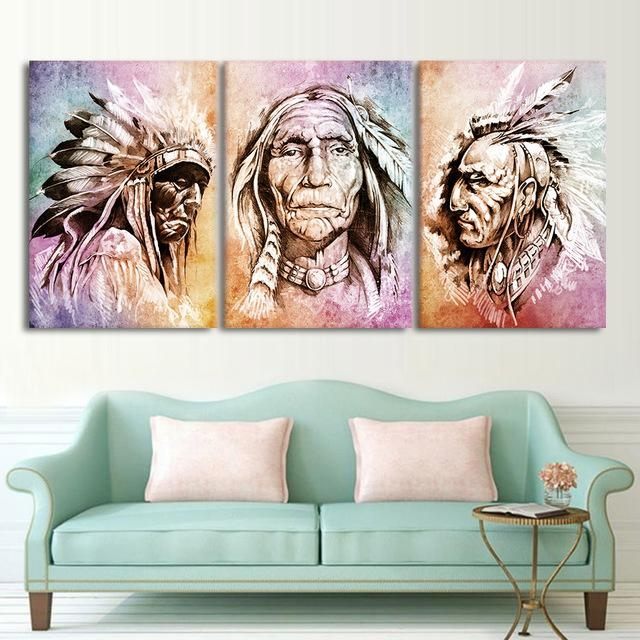 Modern Hd Printed Wall Art Frame Canvas Pictures 3 Pieces American With Portrait Canvas Wall Art (Image 12 of 20)