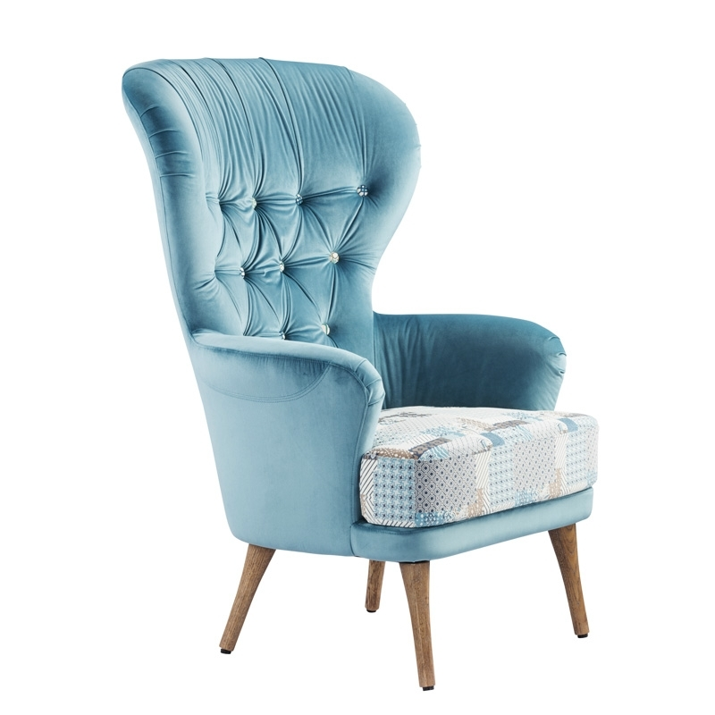 Modern High Back Wing Chair Single Seater Sofa Chairs High Back Inside Single Sofa Chairs (Image 4 of 10)