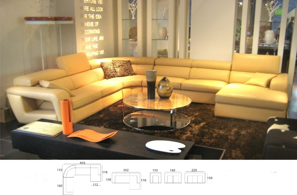 Modern Italian Genuine Leather U Shaped Sectional Sofa Set With Within Hawaii Sectional Sofas (Image 7 of 10)