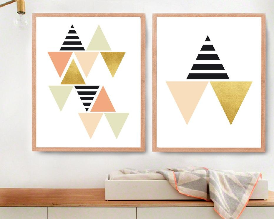 Modern Kids Wall Decor For Fine Gold Triangle Wall Etsy Cheap With Modern Nursery Canvas Wall Art (View 4 of 20)