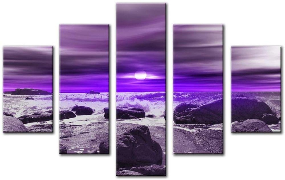 Modern Large 32 X 45 Inch Canvas Wall Art Abstract Purple Seascape Within Canvas Wall Art In Purple (Image 13 of 20)