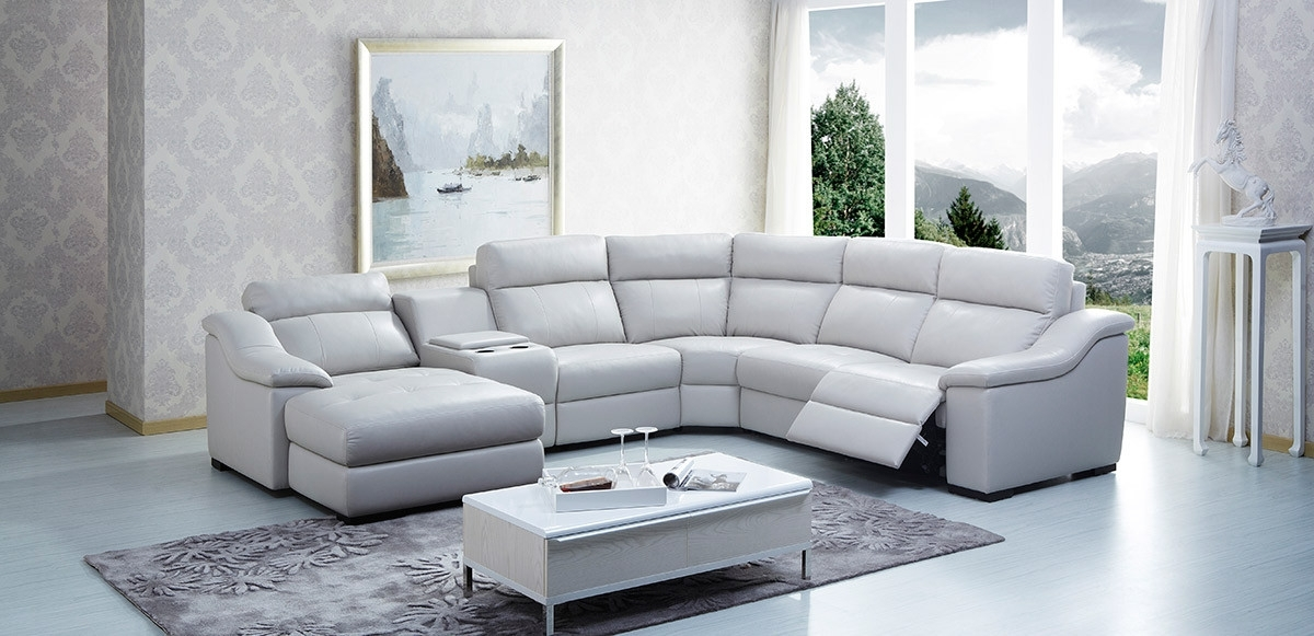 Modern Leather Sectional Sofa W/ Beverage Console And Recliners In Sectional Sofas With Consoles (Image 7 of 10)