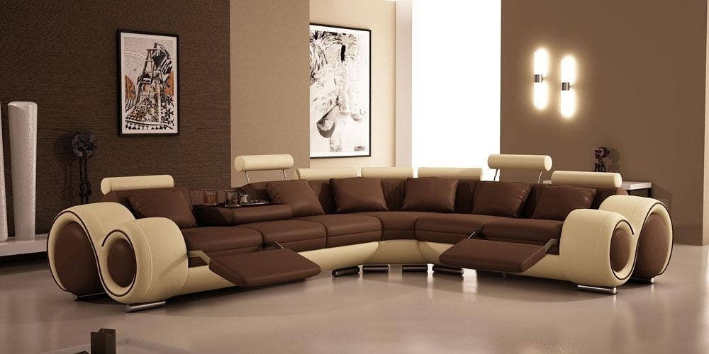 Modern Leather Sectional Sofa With Recliners And Cup Holders Alaska In Sectional Sofas With Cup Holders (View 6 of 10)