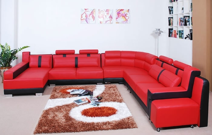 Modern Living Room With Red Leather Sectional Sofa Furniture Ideas Intended For Red And Black Sofas (Image 4 of 10)