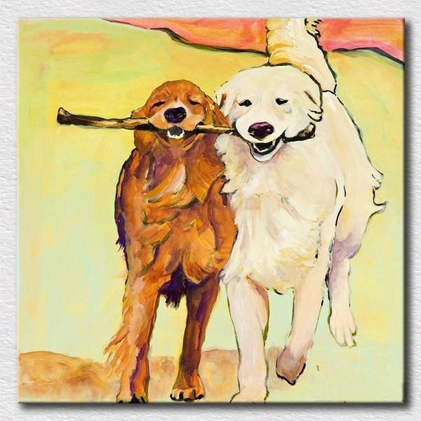 Modern Oil Painting Of Lovely Dogs Canvas Wall Art For Kids For Dogs Canvas Wall Art (Image 16 of 20)