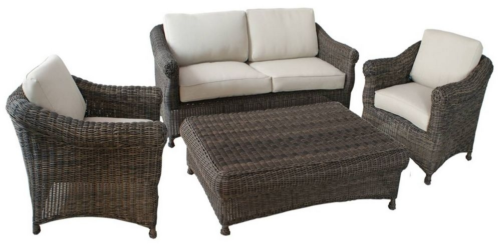 Modern Outdoor Garden Furniture Rattan Sofa 4Pcs Set Omr F123 Pertaining To Outdoor Sofa Chairs (Image 7 of 10)