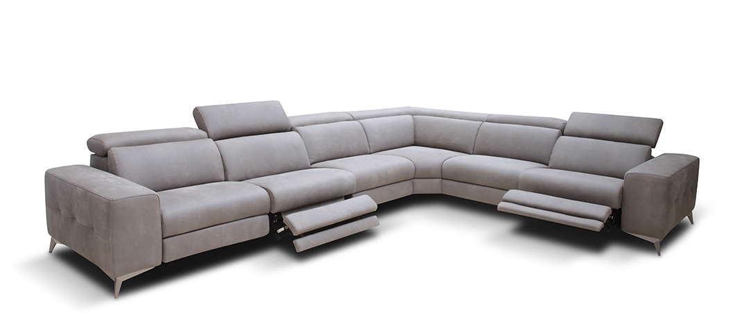 Modern Reclining Sectional Sofa Leather — Fabrizio Design : Cool Intended For Modern Reclining Leather Sofas (Image 7 of 10)