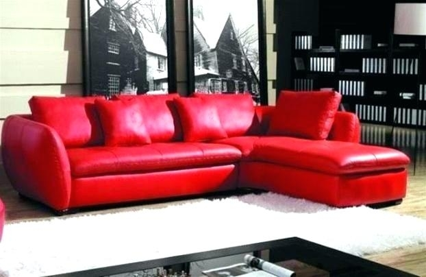 Modern Red Leather Sectional Sofa With Chair Modern Living Red With Regard To Red Faux Leather Sectionals (Image 7 of 10)
