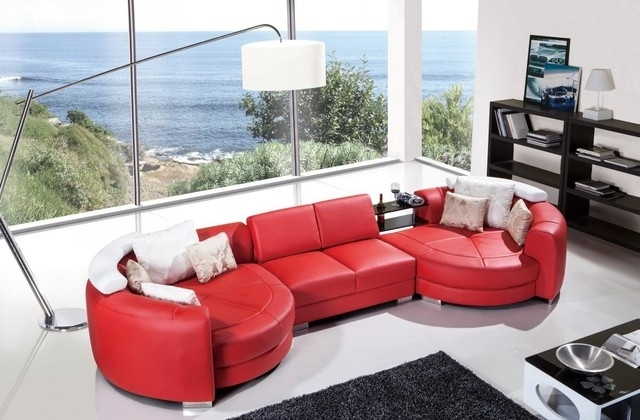 Modern Red Leather Sectional Sofa With Chaise – Modern – Living Room Throughout Red Leather Sectionals With Chaise (Image 4 of 10)