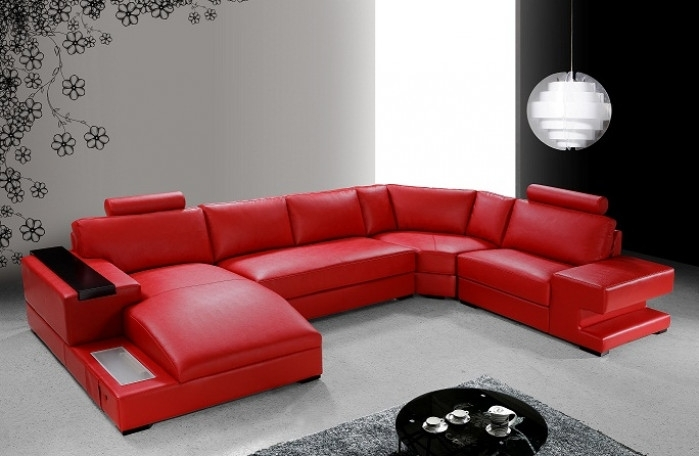 Modern Red Leather Sectional Sofa Within Red Leather Couches (Image 5 of 10)
