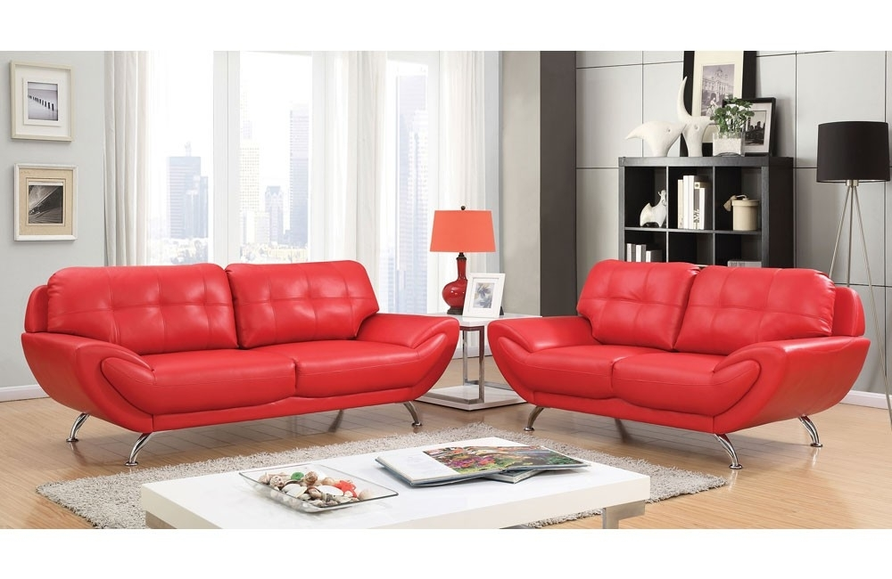 Modern Red Leather Sofa With Red Leather Sofas (View 6 of 10)