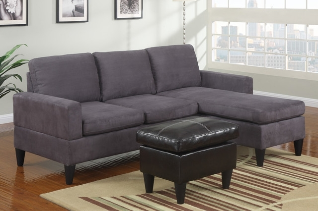 Modern Small Sectional Sofa Modern Small Gray Microfiber Sectional Throughout Small Sectional Sofas With Chaise And Ottoman (Image 8 of 10)