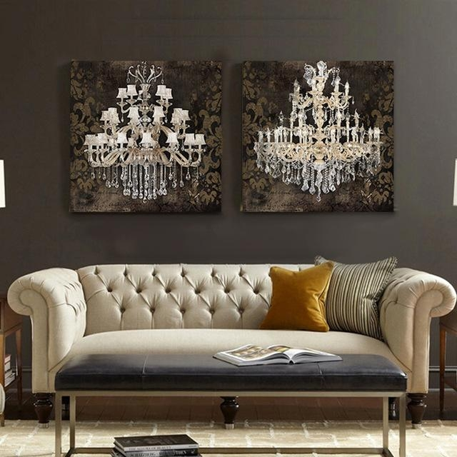 Modern Still Life Painting Canvas Art Crystal Chandelier Pattern For Chandelier Canvas Wall Art (Image 11 of 20)