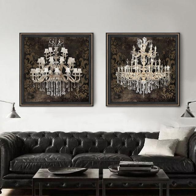 Modern Still Life Painting Canvas Art Crystal Chandelier Pattern Inside Retro Canvas Wall Art (Image 14 of 20)