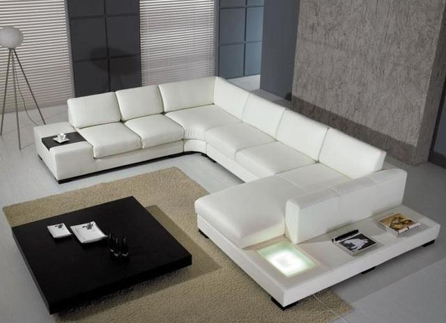 Modern U Shape Sectional Sofa In White Bonded Leather – Modern Inside Modern U Shaped Sectional Sofas (Image 6 of 10)