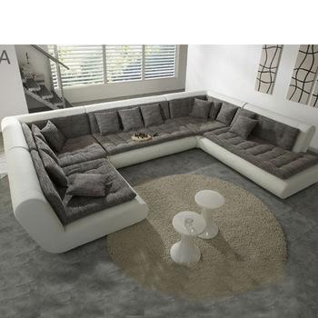 Modern U Shaped Sectional Sofa Fabric Leather Sofa Set New Designs Within Modern U Shaped Sectional Sofas (Image 4 of 10)