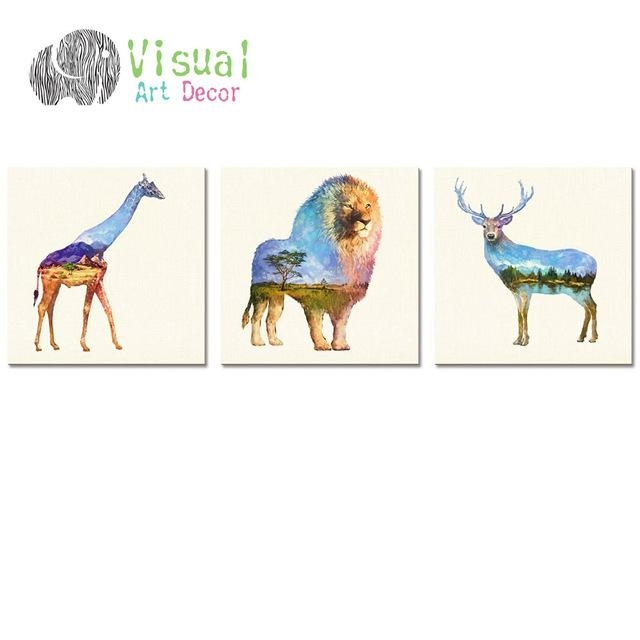 Modern Wall Art Decal Animal Double Exposure Painting Canvas With Regard To Giraffe Canvas Wall Art (Image 15 of 20)