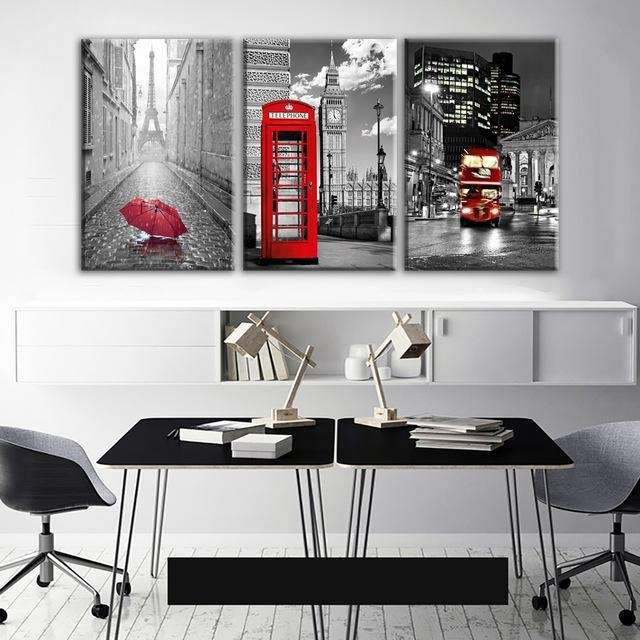 Modern Wall Art Framework Canvas Pictures 3 Pieces Paris Black Inside Black And White Canvas Wall Art (Image 9 of 20)